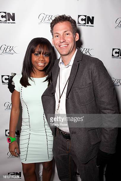 Olympian Gaby Douglas and Founder and CEO of GBK Productions Gavin Keilly attend the GBK Cartoon Network's Official Backstage Thank You Lounge at...