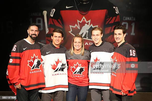TORONTO ON AUGUST 2 Olympian Greg Westlake Travis Konency Olympian MariePhilip Poulin Mitchell Stephens and Matthew Barzal are some of the first to...