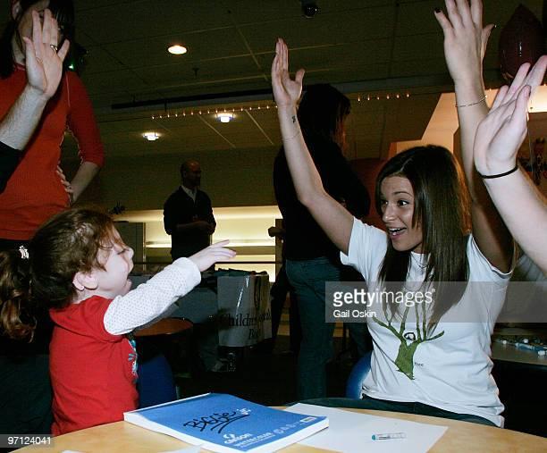 Olympian gymnast Alicia Sacramone spokesperson for Kidz b Kidzorg visits Abigail at Children's Hospital Boston on February 26 2010 in Boston...