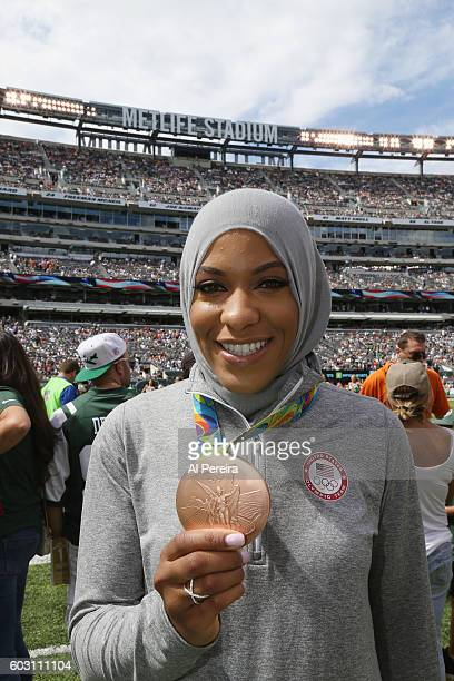 Olympian Ibtihaj Muhammad attends the New York Jets versus Cincinnati Bengals game at MetLife Stadium on September 11 2016 in East Rutherford New...