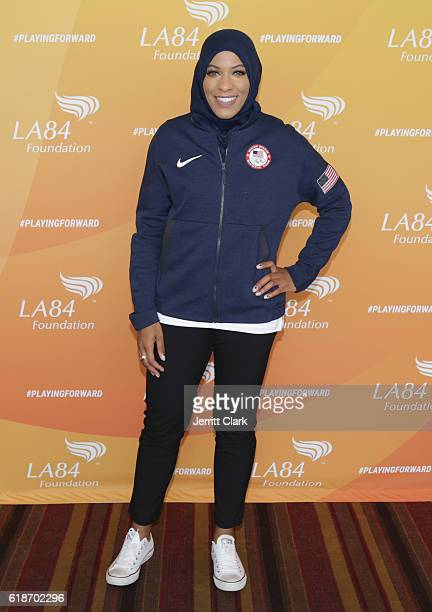 Olympian Ibtihaj Muhammad speaks at the 5th Annual LA84 Foundation Summit on October 27 2016 in Los Angeles California