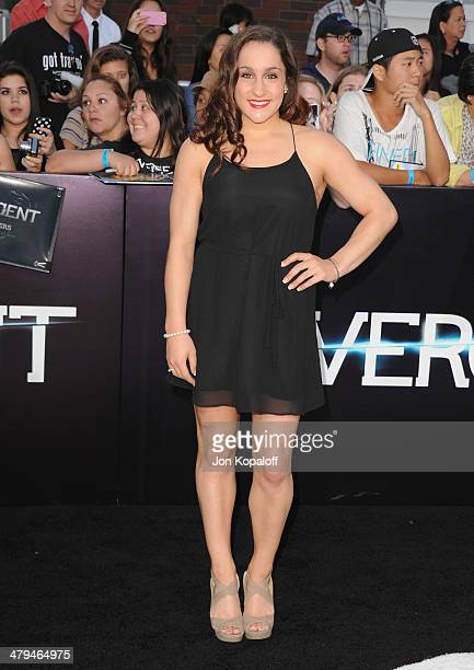 Olympian Jordyn Wieber arrives at the Los Angeles Premiere 'Divergent' at Regency Bruin Theatre on March 18 2014 in Los Angeles California