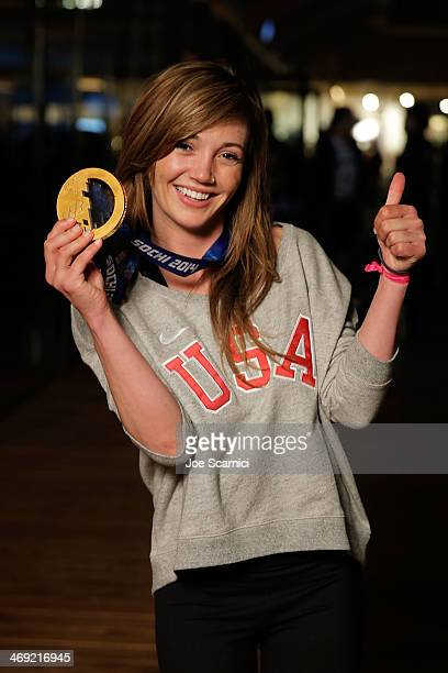 S Olympian Kaitlyn Farrington visits the USA House in the Olympic Village on February 13 2014 in Sochi Russia