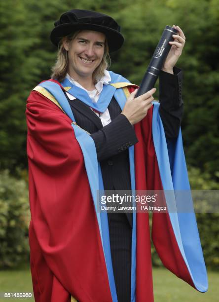 Olympian Katherine Grainger receives an honorary degree from Caledonian University during a photocall at the Clyde Auditorium in Glasgow, Scotland.