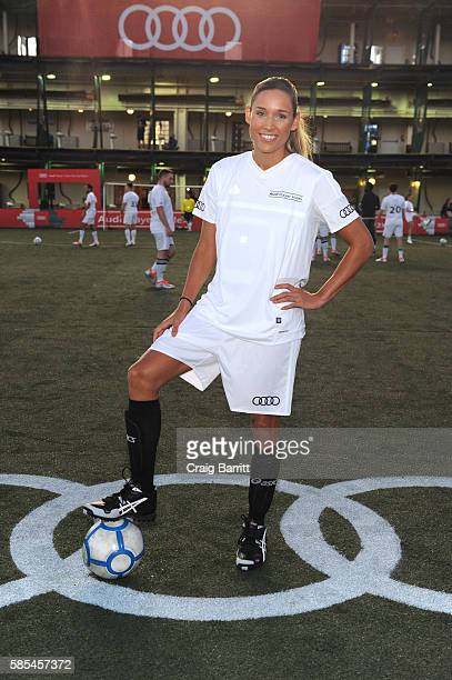 Olympian Lolo Jones poses on the field prior to the Audi Player Index PickUp Match at Chelsea Piers on August 2 2016 in New York City