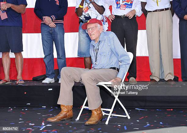 Olympian Louis Zamperini listens to a speaker at a ceremony honoring California Olympians and Paralympians held at Universal Studios on September 27...