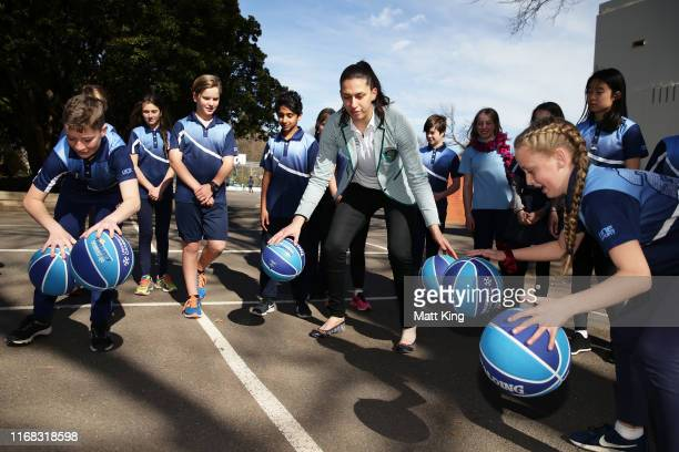 Olympian Marianna Tolo interacts with students during the Olympic Unleashed Unveiling at the Ainslie School on August 16, 2019 in Canberra, Australia.