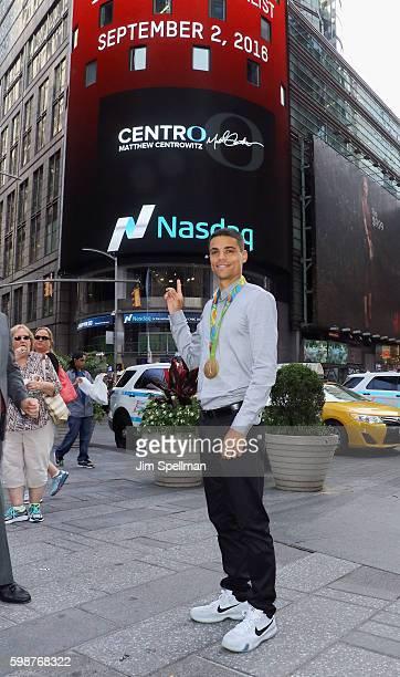 Olympian Matthew Centrowitz Jr rings the Nasdaq market site closing bell at NASDAQ MarketSite on September 2 2016 in New York City