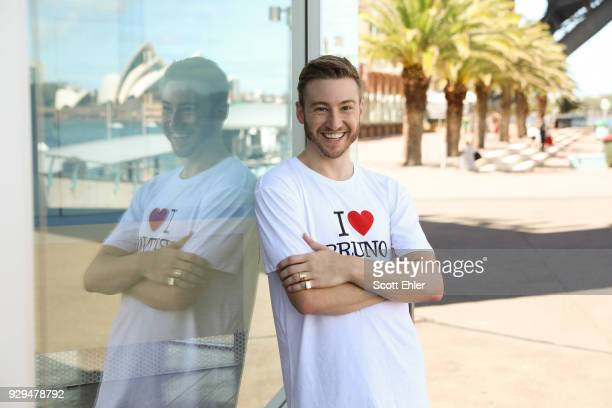 Olympian Matthew Mitcham poses ahead of a flash mob proposal with Affinity Diamonds at Luna Park at Sydney Harbour on March 9, 2018 in Sydney,...