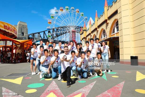 Olympian Matthew Mitcham proposes to Bruno Mars with an Affinity Diamond ring duritng a flash mob proposal at Luna Park, Sydney Harbour on March 9,...