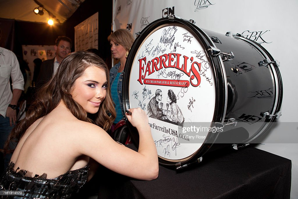 Olympian McKayla Maroney attends the GBK & Cartoon Network's Official Backstage Thank You Lounge at Barker Hangar on February 9, 2013 in Santa Monica, California.