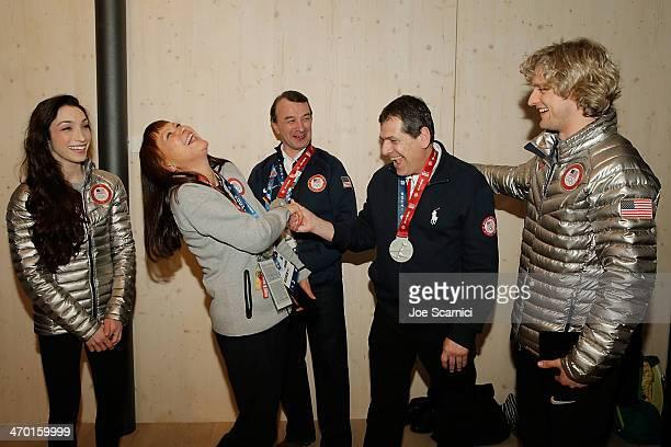 US Olympian Meryl Davis Coaches Oleg Epstein Marina Zoueva Johnny John and US Olympian Charlie White visit the USA House in the Olympic Village on...