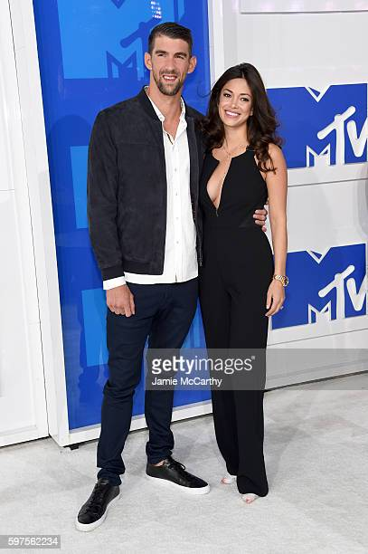 Olympian Michael Phelps and finace Nicole Johnson attends the 2016 MTV Video Music Awards at Madison Square Garden on August 28 2016 in New York City