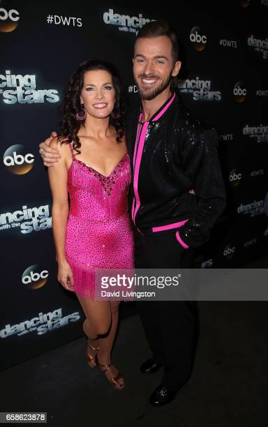 Olympian Nancy Kerrigan and dancer Artem Chigvintsev attend Dancing with the Stars Season 24 at CBS Televison City on March 27 2017 in Los Angeles...