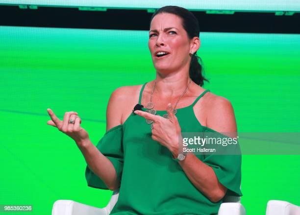 Olympian Nancy Kerrigan speaks on stage during the KPMG Women's Leadership Summit prior to the start of the KPMG Women's PGA Championship at Kemper...