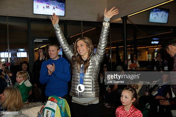 S Olympian Noelle PikusPace visits the USA House in the Olympic Village on February 15 2014 in Sochi Russia