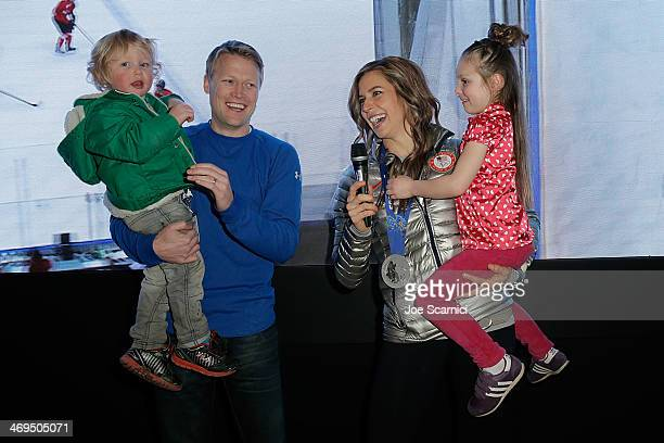 S Olympian Noelle PikusPace with family Traycen Pace Janson Pace and Lacee Pace visit the USA House in the Olympic Village on February 15 2014 in...