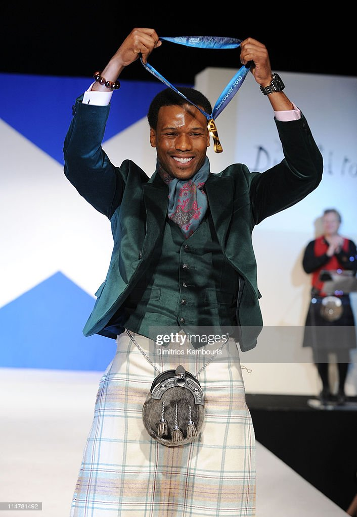 Olympian Shani Davis attends the 8th annual 'Dressed To Kilt' Charity Fashion Show at M2 Ultra Lounge on April 5, 2010 in New York City.
