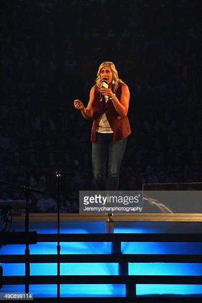 Olympian Silken Laumann speaks during WE Day Toronto at the Air Canada Centre on October 1 2015 in Toronto Canada