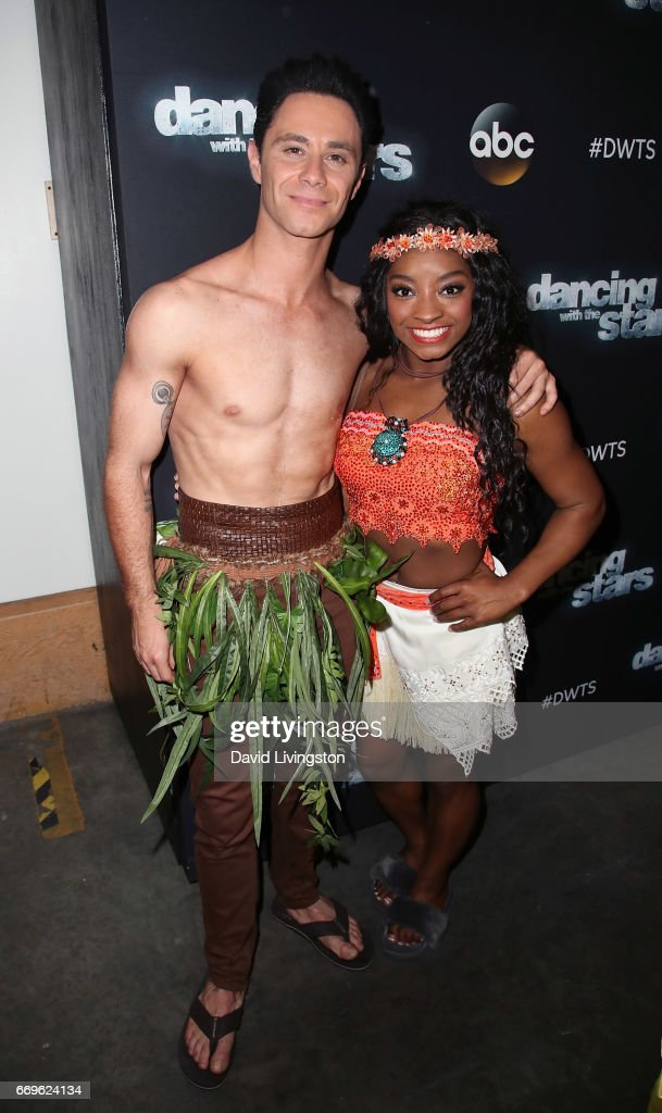 Olympian Simone Biles (R) and dancer Sasha Farber attend 'Dancing with the Stars' Season 24 at CBS Televison City on April 17, 2017 in Los Angeles, California.