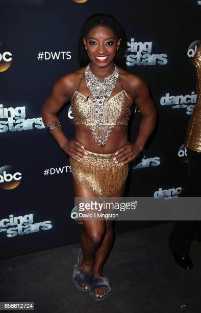 Olympian Simone Biles attends 'Dancing with the Stars' Season 24 at CBS Televison City on March 27 2017 in Los Angeles California