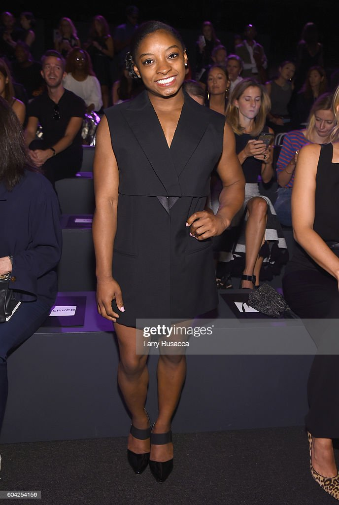 Olympian Simone Biles attends the Vera Wang Collection fashion show during New York Fashion Week: The Shows at The Arc, Skylight at Moynihan Station on September 13, 2016 in New York City.