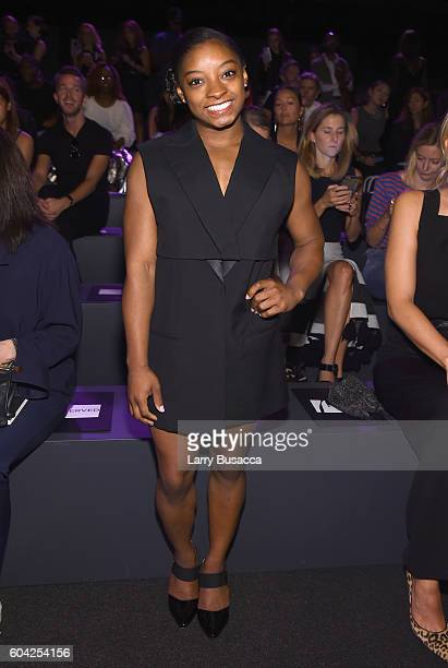 Olympian Simone Biles attends the Vera Wang Collection fashion show during New York Fashion Week The Shows at The Arc Skylight at Moynihan Station on...