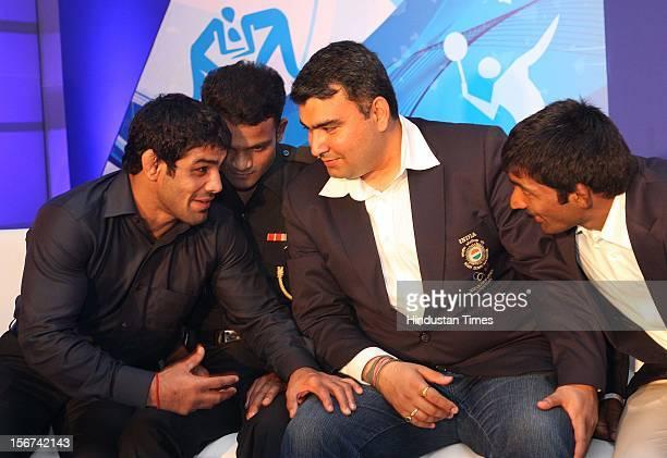 Olympian Sushil Kumar,Vijay Kumar,Gagan Narang and Yogeshwar Dutt during their felicitation function by Indian Olympic Association and Samsung after...