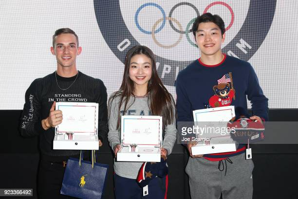 Olympians Adam Rippon, Maia Shibutani and Alex Shibutani pose for a photo at the USA House at the PyeongChang 2018 Winter Olympic Games on February...