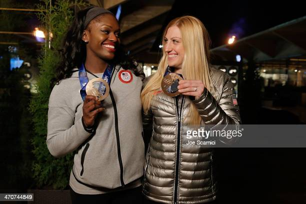 S Olympians Aja Evans and Jamie Greubel visit the USA House in the Olympic Village on February 20 2014 in Sochi Russia