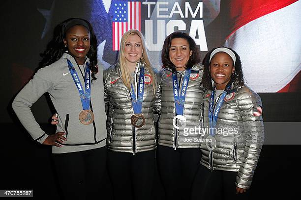 US Olympians Aja Evans Jamie Greubel Elana Meyers and Lauryn Williams visit the USA House in the Olympic Village on February 20 2014 in Sochi Russia