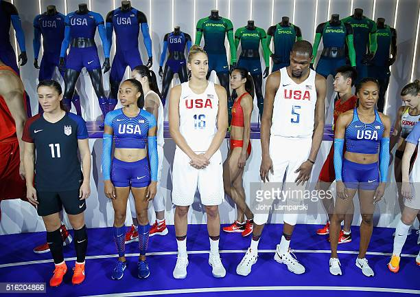 Olympians Ali Krieger Allyson Michelle Felix Elena Delle Donne Kevin Durant and Sanya RichardsRoss attend the 2016 Olympics Uniforms for USA and...