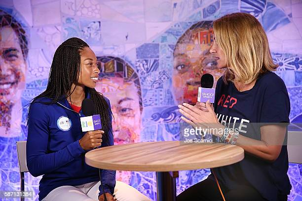 S Olympians Allyson Felix and Summer Sanders attend a Citihosted event on the terrace of the USA House on August 7 in Rio de Janeiro Brazil