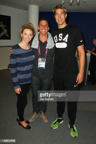 US Olympians Alyssa Anderson Clarke Burckle and Matt Grevers visit the USA House at the Royal College of Art on August 4 2012 in London England
