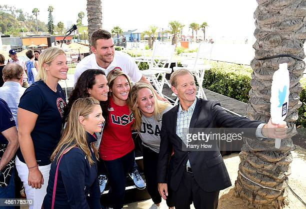 Olympians and paralympians pose for a photo after at a press conference to officially launch a Los Angeles 2024 Olympic and Paralympic games bid at...