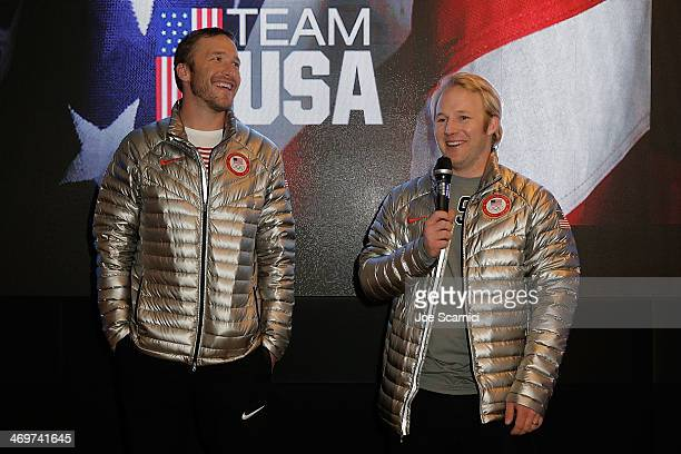 S Olympians Bode Miller and Andrew Weibrecht visit the USA House in the Olympic Village on February 16 2014 in Sochi Russia