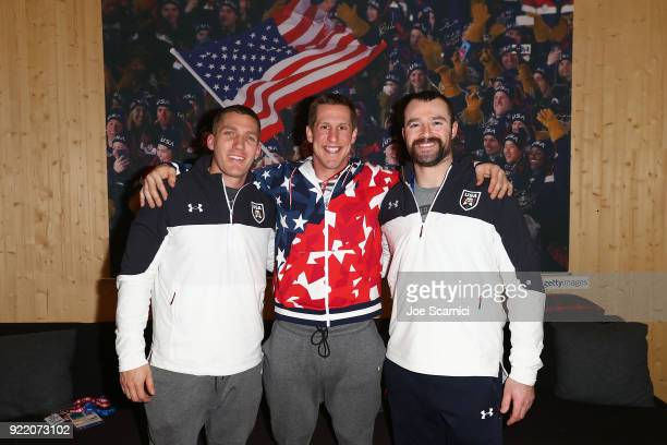 US Olympians Chris Fogt Nate Weber and Carlo Valdes pose for a photo at the USA House at the PyeongChang 2018 Winter Olympic Games on February 21...