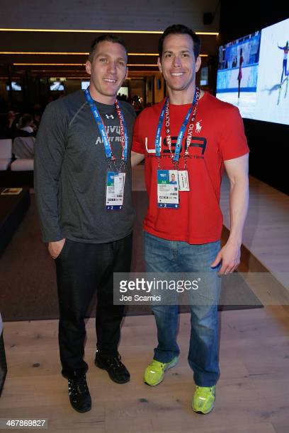 S Olympians Christopher Fogt and Cory Butner visit the USA House in the Olympic Village on February 8 2014 in Sochi Russia