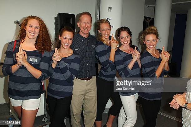 US Olympians Claire Donahue Lauren Perdue Coach Steve Bultman Cammile Adams and Alyssa Anderson visit the USA House at the Royal College of Art on...