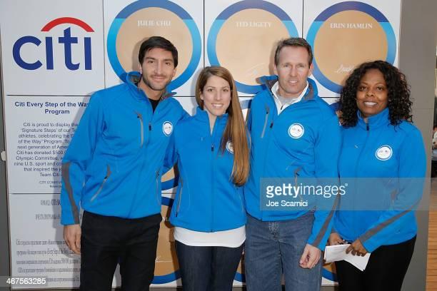 Olympians Evan Lysacek, Erin Hamlin and Dan Jansen and Citi Director, Corporate Sponsorships and Marketing Tina Davis help to unveil Citi's Signature...