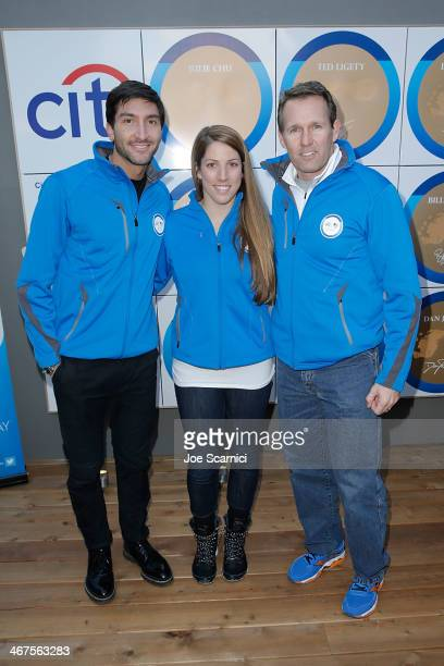 Olympians Evan Lysacek, Erin Hamlin and Dan Jansen help to unveil Citi's Signature Step celebrating the Every Step of the Way Program at USA House on...