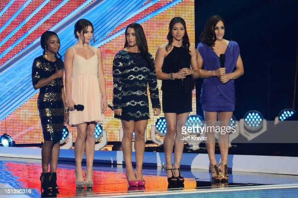 Olympians Gabby Douglas McKayla Maroney Alexandra Raisman Kyla Ross and Jordyn Wiber onstage during the 2012 MTV Video Music Awards at Staples Center...