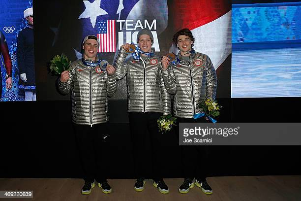 US Olympians Gus Kenworthy Joss Christensen and Nicholas Goepper visit the USA House in the Olympic Village on February 13 2014 in Sochi Russia