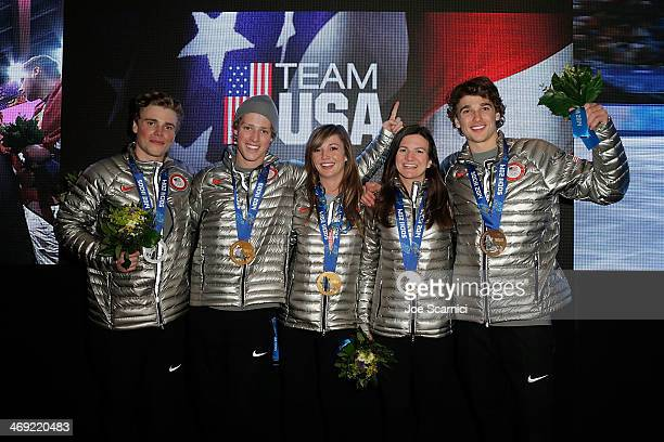 US Olympians Gus Kenworthy Joss Christensen Kaitlyn Farrington Kelly Clark and Nicholas Goepper visit the USA House in the Olympic Village on...