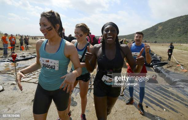 Olympians Jade Jones Jessica Varnish Perri ShakesDrayton and Anthony Fowler from Great Britain compete during the Tough Mudder Half Los Angeles event...