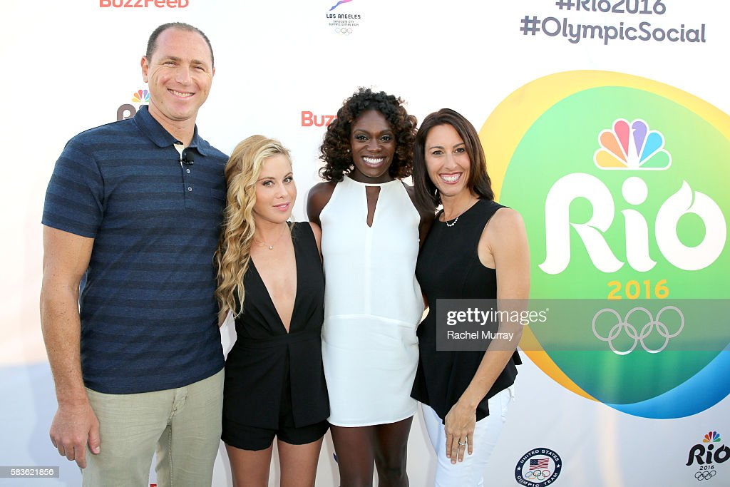 Olympians Jason Lezak, Tara Lipinski, Dawn Harper-Nelson, and Janet Evans attend the NBC Olympic Social Opening Ceremony at Jonathan Beach Club on July 26, 2016 in Santa Monica, California.