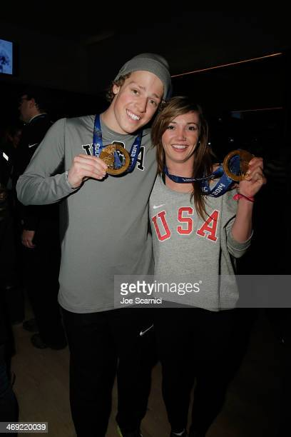 S Olympians Joss Christensen and Kaitlyn Farrington visit the USA House in the Olympic Village on February 13 2014 in Sochi Russia