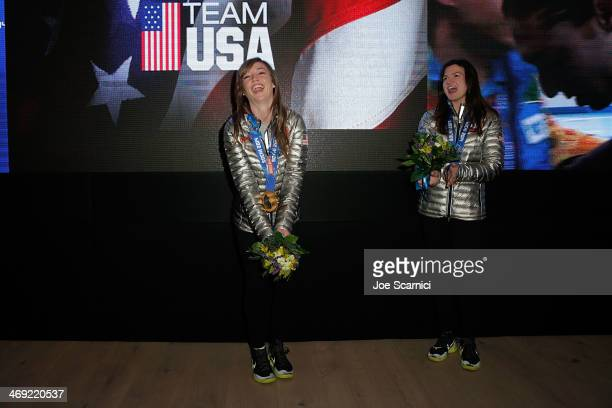 S Olympians Kaitlyn Farrington and Kelly Clark visit the USA House in the Olympic Village on February 13 2014 in Sochi Russia