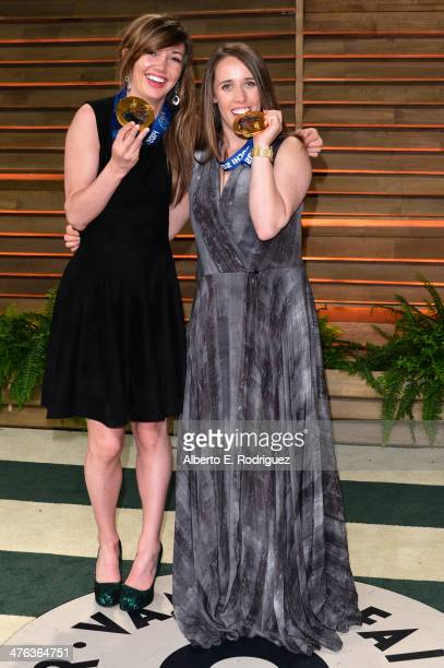 Olympians Kaitlyn Farrington and Maddie Bowman attend the 2014 Vanity Fair Oscar Party hosted by Graydon Carter on March 2 2014 in West Hollywood...