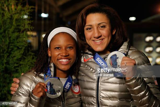 S Olympians Lauryn Williams and Elana Meyers visit the USA House in the Olympic Village on February 20 2014 in Sochi Russia